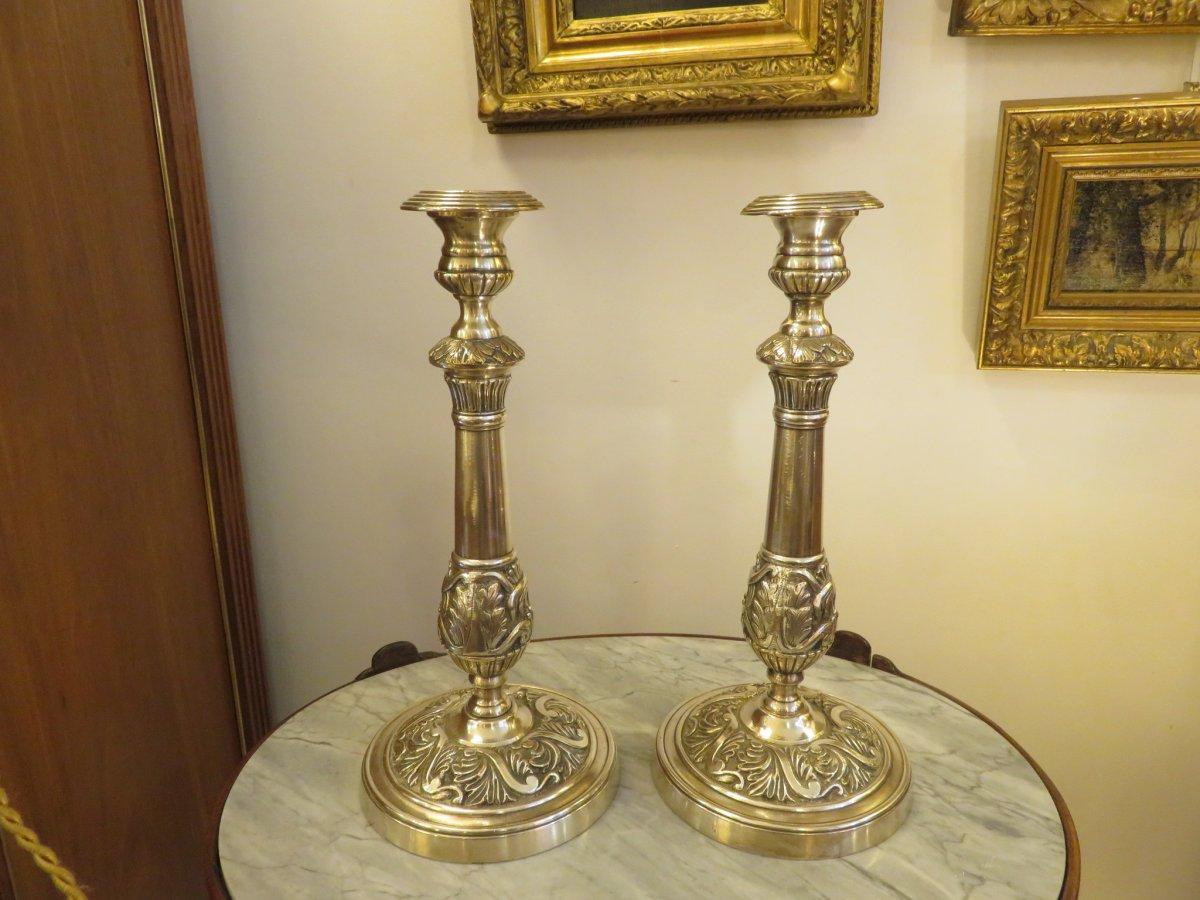 Paire De Bougeoirs En Bronze Argenté XIX ème