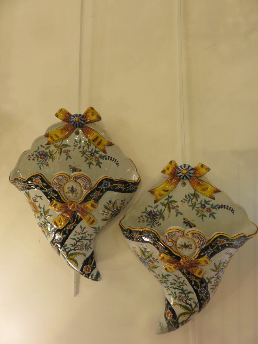 Pair Of Wall Flowers In Desvres Earthenware, Charles Fourmaintraux Early Twentieth