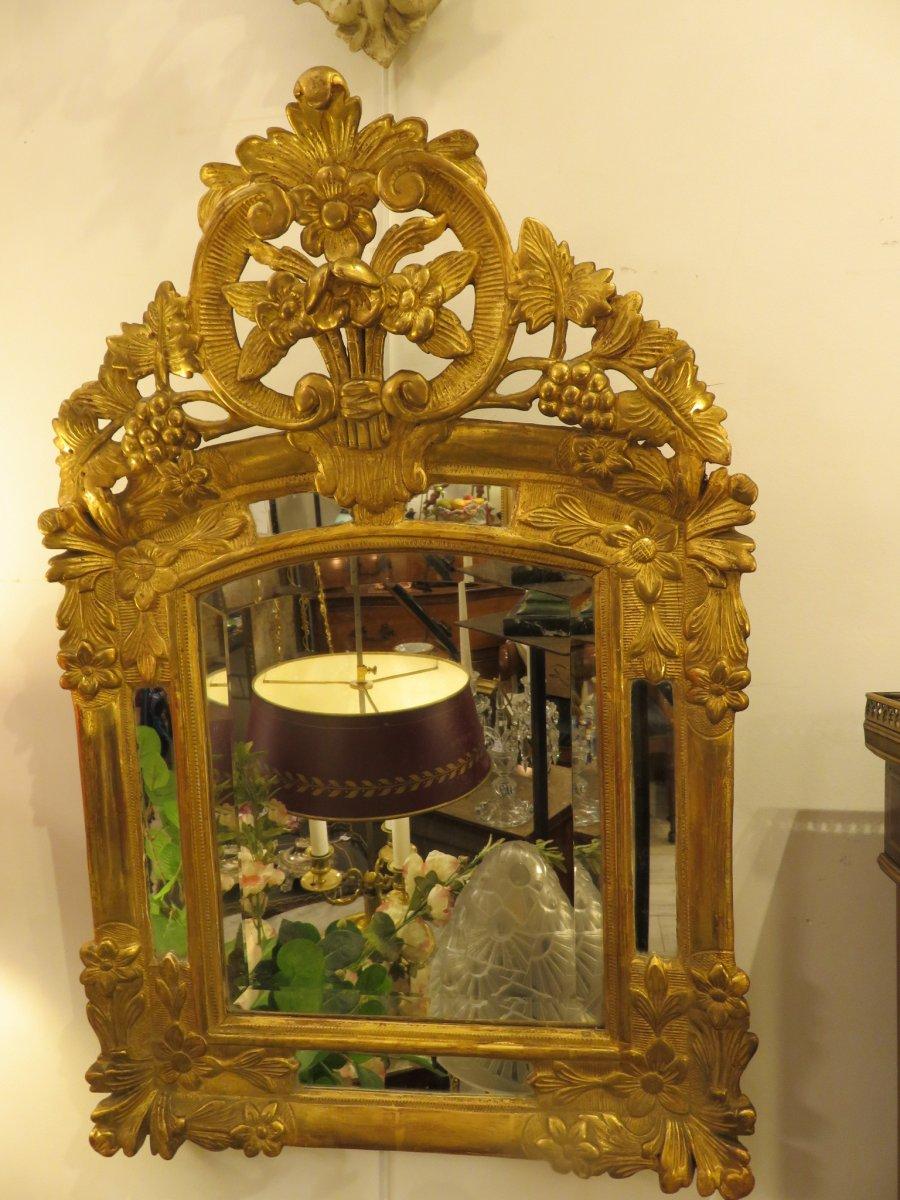 Miroir En Bois Doré à Pare Closes De Style Louis XV , Début XIX ème