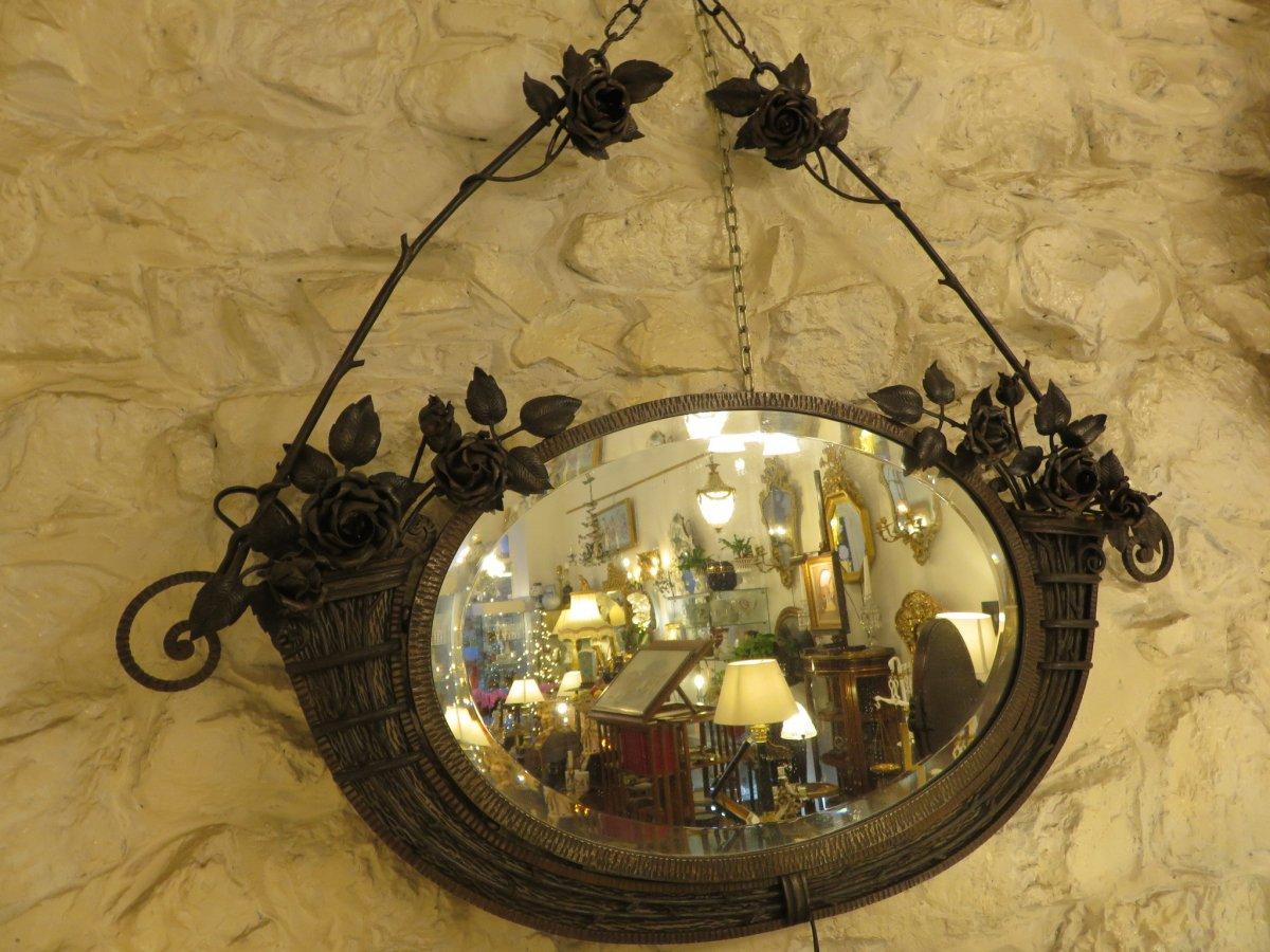 Miroir En Fer Forgé  Création De Henri Fournet à Lyon époque Art Nouveau -photo-2