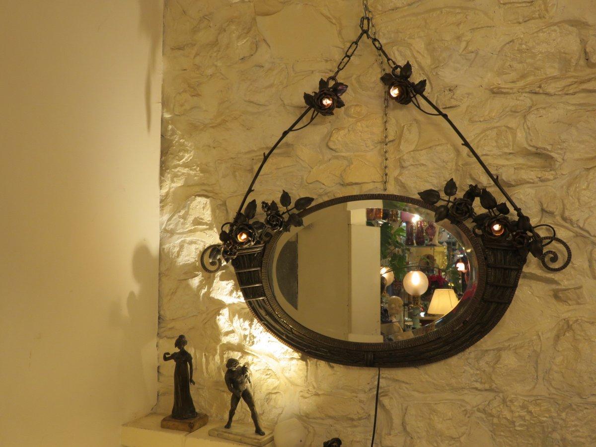 Miroir En Fer Forgé  Création De Henri Fournet à Lyon époque Art Nouveau -photo-4