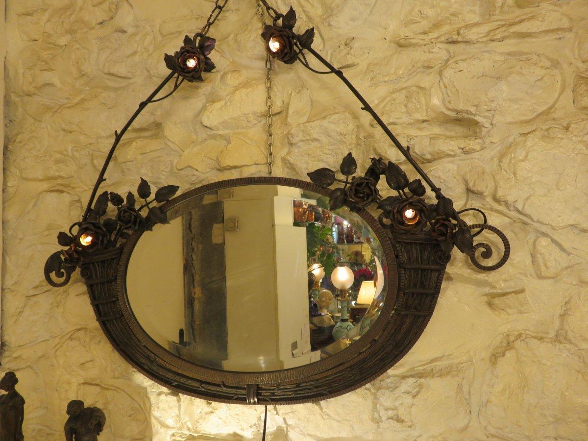 Miroir En Fer Forgé  Création De Henri Fournet à Lyon époque Art Nouveau -photo-5