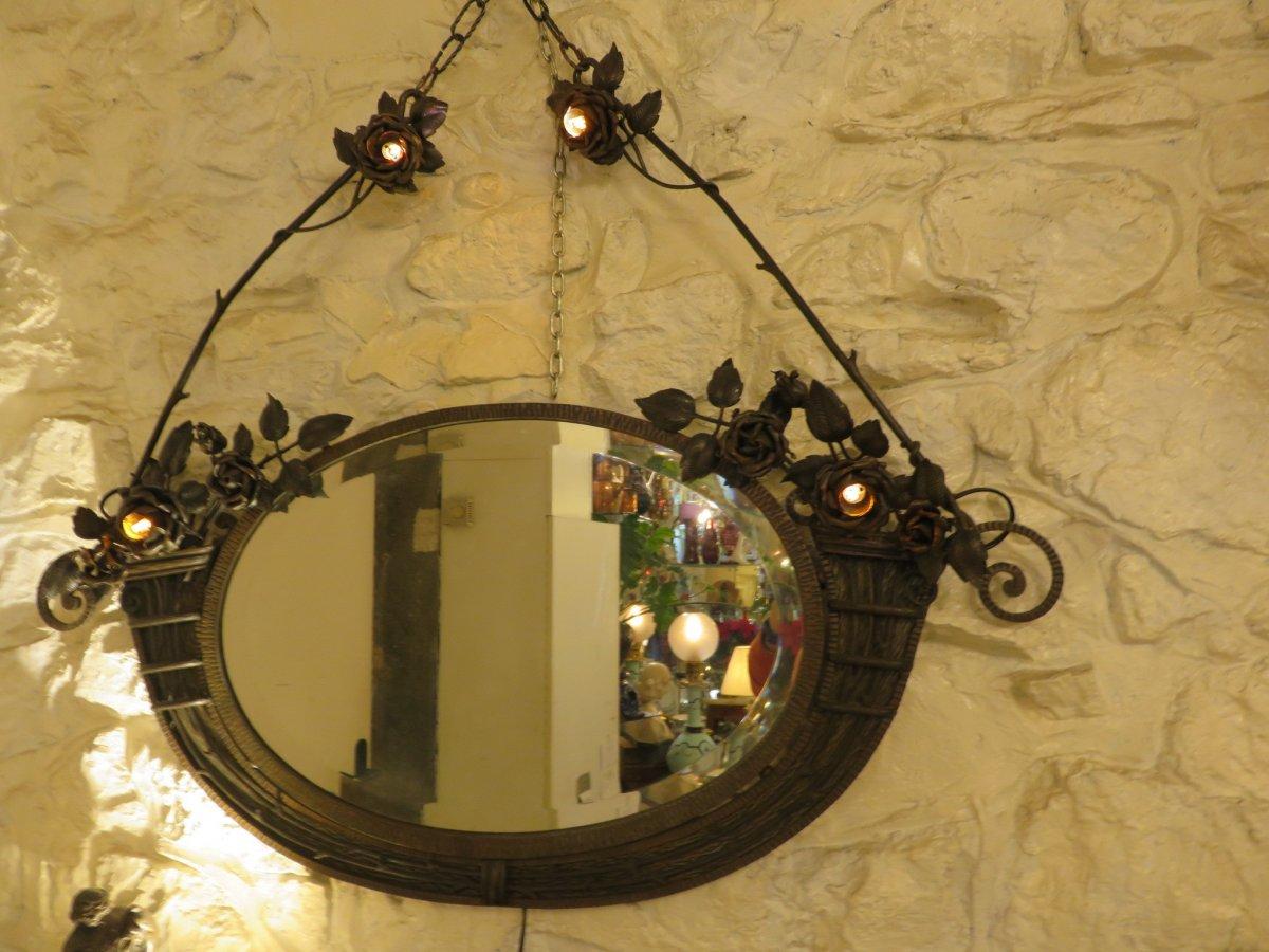 Miroir En Fer Forgé  Création De Henri Fournet à Lyon époque Art Nouveau -photo-8