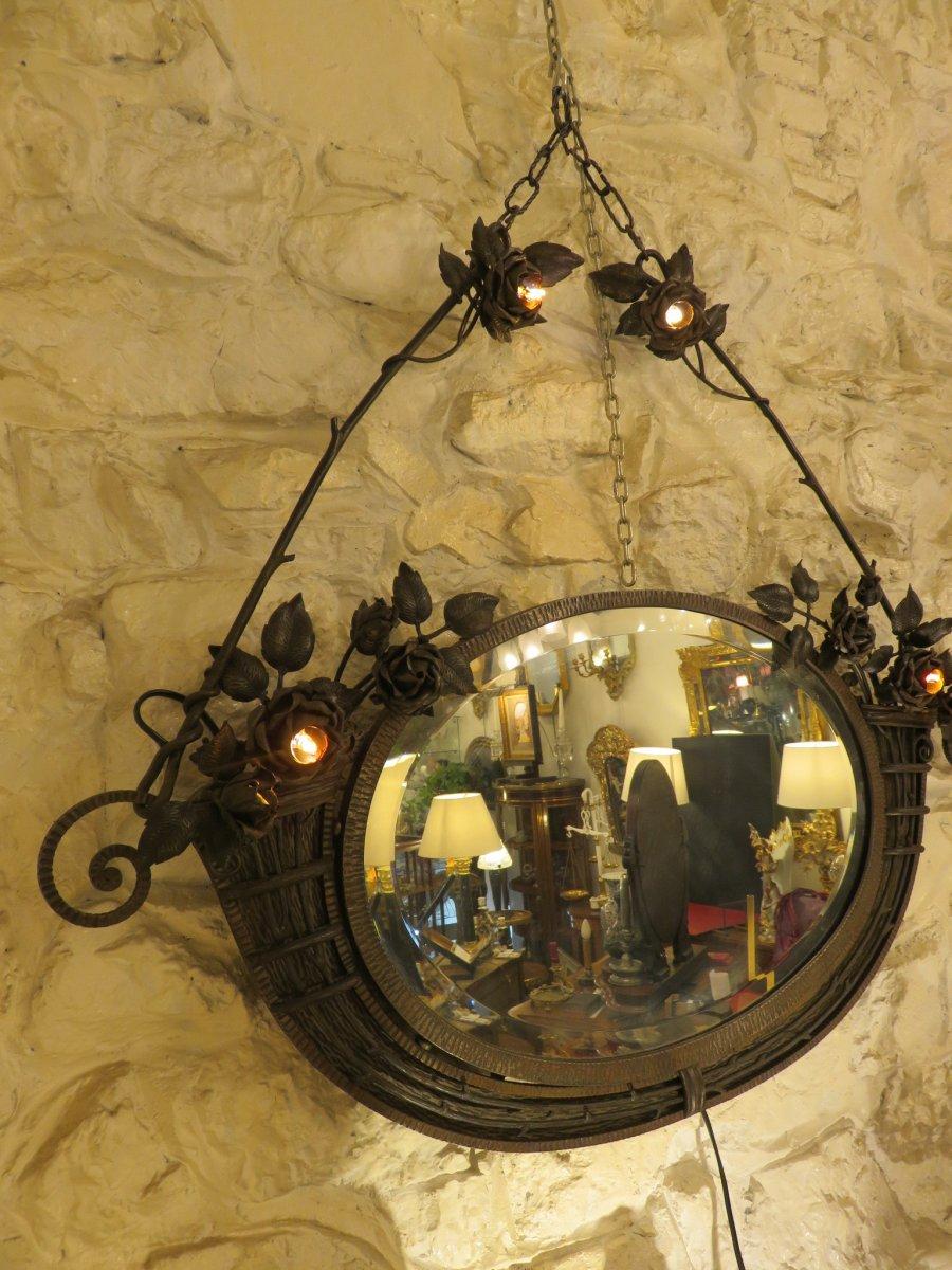 Miroir En Fer Forgé  Création De Henri Fournet à Lyon époque Art Nouveau