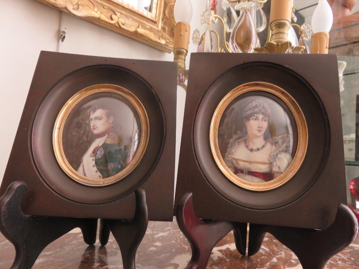 Paire De Miniatures Peintes Sur Ivoire : Napoléon Et Joséphine De Beauharnais  Fin XIX ème-photo-2