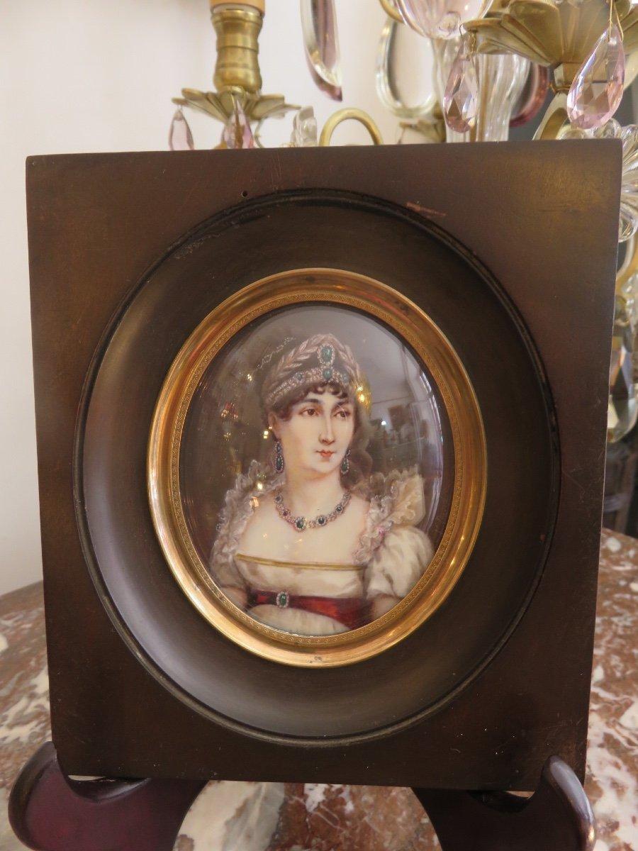 Paire De Miniatures Peintes Sur Ivoire : Napoléon Et Joséphine De Beauharnais  Fin XIX ème-photo-4