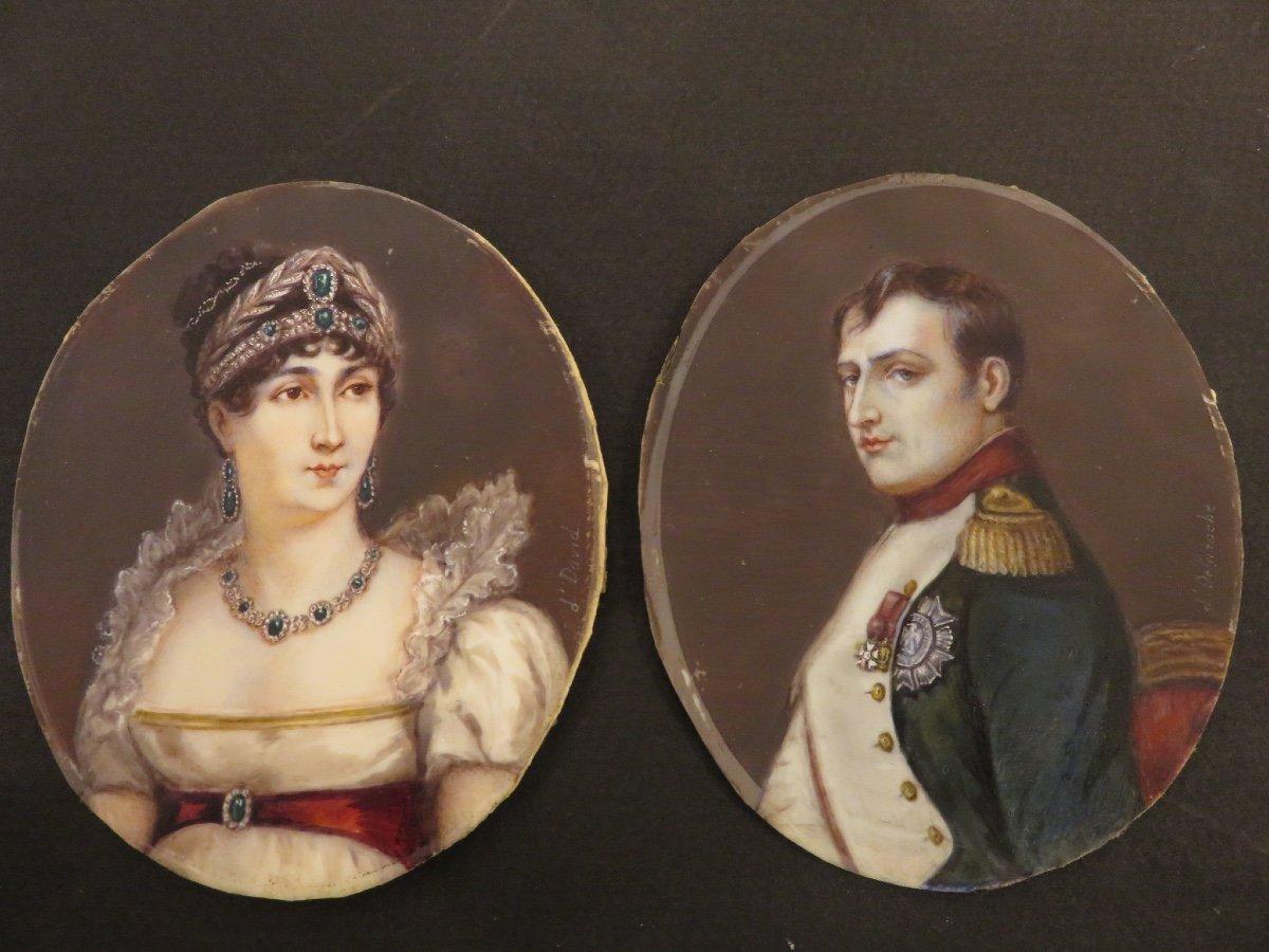 Paire De Miniatures Peintes Sur Ivoire : Napoléon Et Joséphine De Beauharnais  Fin XIX ème