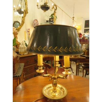 Lampe Bouillotte à Trois Feux , Tête De Cygne , En Bronze Doré  Début XXème
