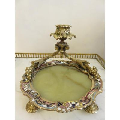 Candlestick In Cloisonne Bronze, With Onyx Plaque, Napoleon III