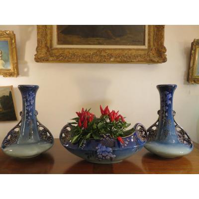 Garniture : Une Jardinière Et Deux Vases, d'époque Art Nouveau ,faïence De Lunéville (k.&G)