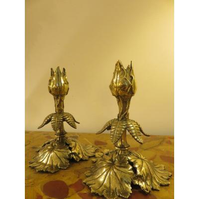 Paire De Bougeoirs Art Nouveau En Bronze Doré
