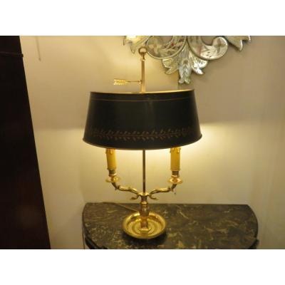 Lampe Bouillotte à Deux Feux ,en Bronze Doré à Décor De Têtes De Cygnes Fin XIX ème