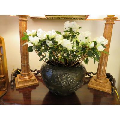 Cache - Pot  d'époque Art Nouveau En Céramique Et Feuilles d'étain