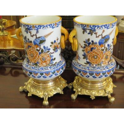 Pair Of Polychrome Earthenware Vases From Gien, Mounted On Bronze, XIX