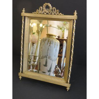 Miroir à Poser En Bronze Doré , Glace Biseautée , De Style Louis XVI époque Napoléon III ,