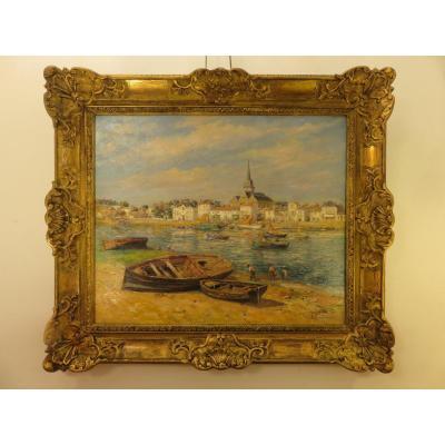 Marine :saint- Gilles -croix -de-vie (vendée )huile Sur Toile Signée J.ribeaucourt (1866-1932 )
