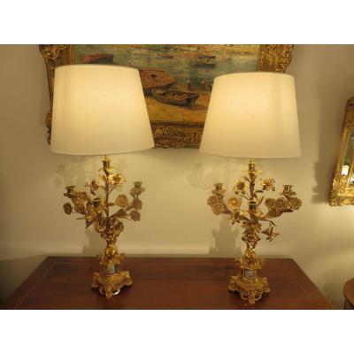 Paire De Candélabres Et Lampes En Bronze Doré , Décor En Porcelaine De Style Louis XV , XIX ème