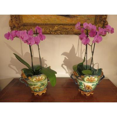 Paire de cache pot en barbotine , double décor .