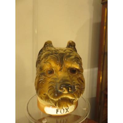 Pot à tabac : chien en barbotine fin XIX ème