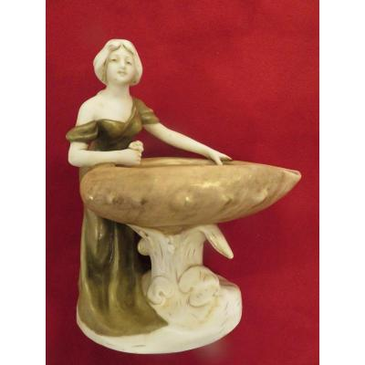 Coupe Verseuse En Porcelaine Royal Dux Bohemia Art Nouveau
