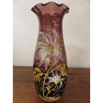 Vase Balustre à Collerette (hauteur 30 Cm ) Montjoye Saint Denis  époque Art Nouveau