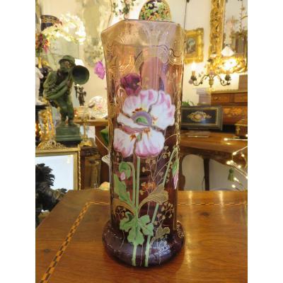 Art Nouveau Enamelled Tubular Vase