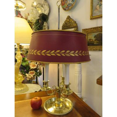 Hot Water Bottle Lamp With Three Lights, In Gilded Bronze, Shade In Painted Sheet Metal