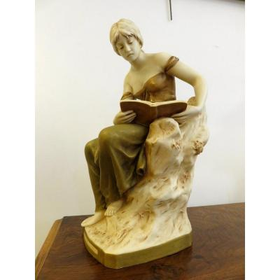 Female Subject Reading (h 40) From The Art Nouveau Period, Royal Dux Bohemia Manufacture