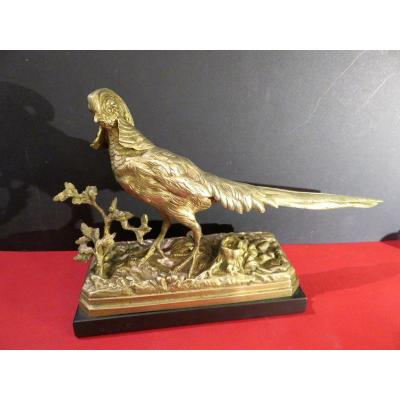 Gilded Bronze Sculpture Of A Chinese Pheasant Signed By Henri Trodoux (1815 - 1881)