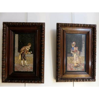 Pair Of Paintings In Marble And Mother-of-pearl Marquetry, Italian Work Of The Late 19th Century