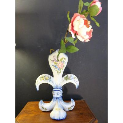 Charolles Earthenware Vase In The Shape Of A Fleur-de-lys, Signed With The Flower, Alfred Molin