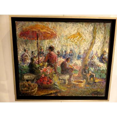 Oil On Canvas: Market Scene In Provence XXth