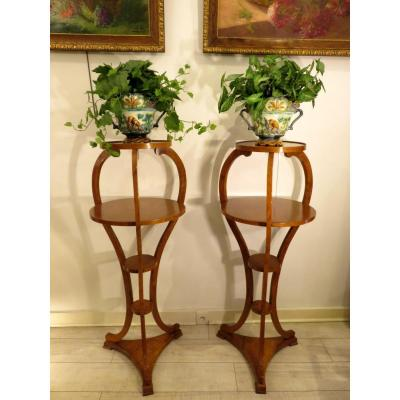 Pair Of Large Harnesses (h 1.25 M) With Four 19th Century Cherry Wood Trays