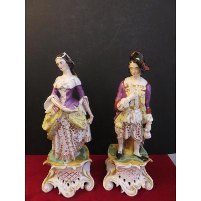 Paire de grands sujets en porcelaine de Paris , porte plume , époque XIX ème