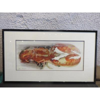 Watercolor: Lobster By Max Laigneau (1937 - 2018)