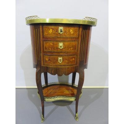 Table De Salon ,d'appoint Ou Chevet ,en Marqueterie  , De Style Louis XV Transition  , XIX ème