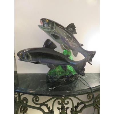 Two Earthenware Trouts Gushing From The Waters, Mounted In Lamp By S. R Bonome (1901 - 1995)