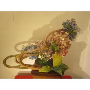 Jardiniere In Art Nouveau Slush: Bouquet Of Blue And Pink Hydrangeas