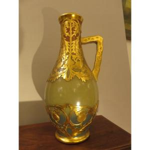 Double-colored, Brass-coated Stoneware Pitcher From Sarreguemines