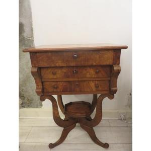 Worker Or Flying Table In Solid Walnut With Two Drawers, 19th Century