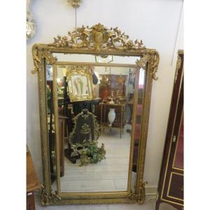 Mirror With Parecloses In Wood And Gilded Stucco Louis XV Style Napoleon III Period