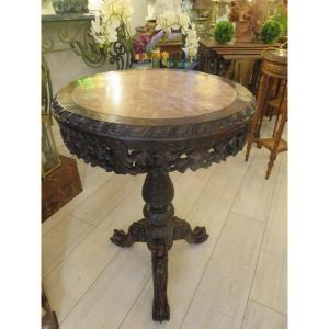 Indochinese Style Pedestal Table In Iron Wood XIXth