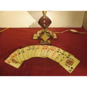 Small Brass Lamp With Card Game Decor, Intended For Players