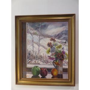 Paysage du Trièves avec bouquet de fleurs et pommes de Suzanne Lemaire ( 1924 - 2011 )