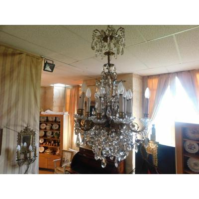Bronze And Crystal Chandelier