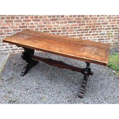 Rare Table De Couvent Noyer 17ème Demontable