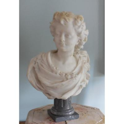 """Marble Bust """"young Girl"""", 19th, Signed"""