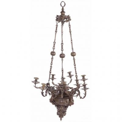 Rare Patinated Bronze Chandelier Richly Decorated 19th