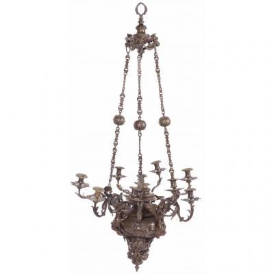 Rare Lustre bronze patiné,richement décoré, 19eme