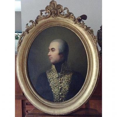 """Pierre Louis Delaval ,1842 Hst """"portrait d'Officier"""